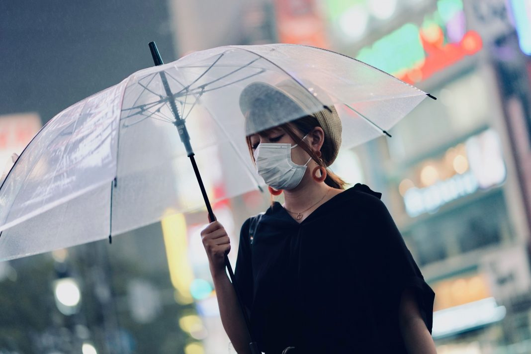 Woman with protective mask and umbrella